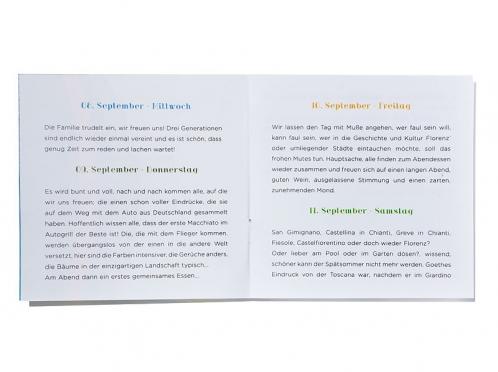8-seitiger Informationseinleger im Retro-Design.