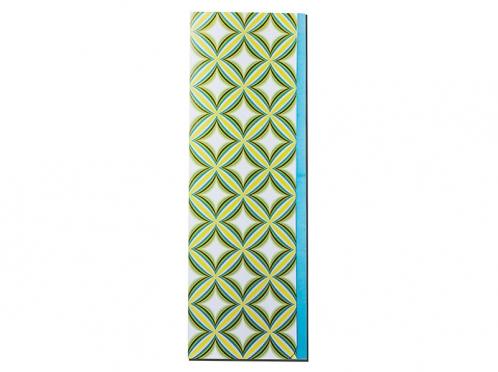 Menükarte zum Aufstellen mit blauem Streifen und abgerundeten Ecken.