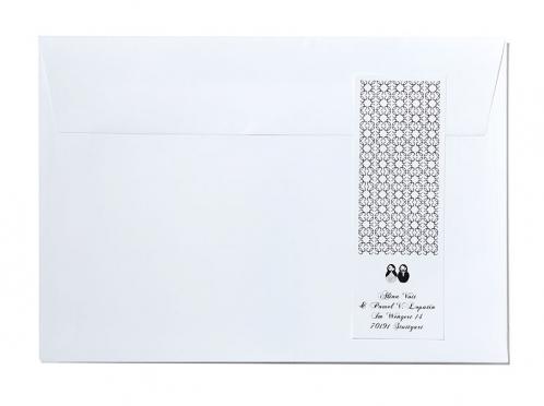 Adressaufkleber mit Matroschka-Pärchen im Design der Einladungskarte.