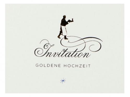 Einladungskarte gedruckt auf Büttenpapier mit gold geprägtem Diener.