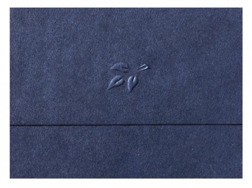 Save-the-Date Einladung mit geprägten dunkelblauem Briefumschlag.