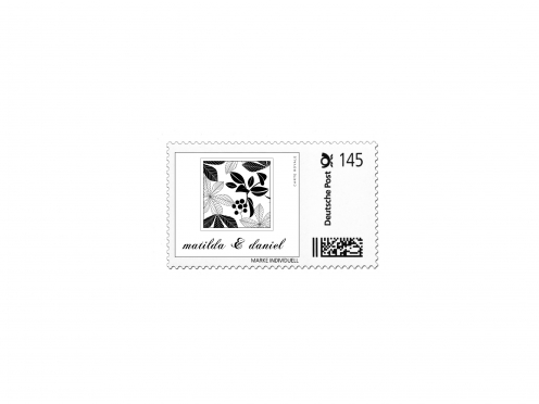 Gestaltung einer Briefmarke passend zum Design der Herbst Hochzeitspapeterie.