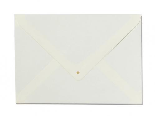 Danksagungskarte gedruckt auf Büttenpapier mit 2 gold geprägten Herzen.