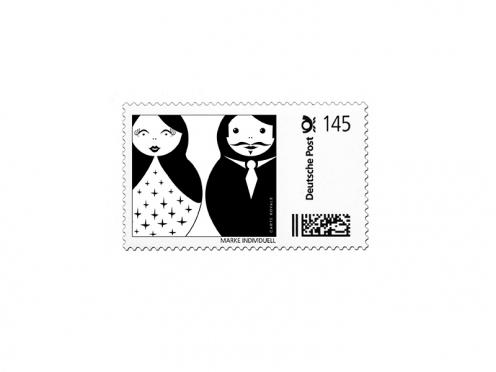 Design-Vorlage für Briefmarken mit Matroschka Motiv.