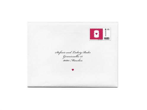 Design-Vorlage für Briefmarken passend zur Darling Hochzeitspapeterie.