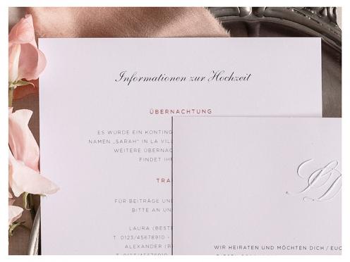 Einlegekarte zur Hochzeitseinladung mit Pastell Blumen in Aquarell gemalt. Das Design harmoniert perfekt zur Einladung.