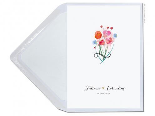 Einladung zur Hochzeit mit Blumen in Aquarell, Kalligrafie und Goldprägung.