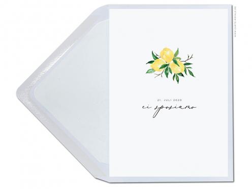Hochzeitskarte mit Zitronen in zarten Aquarellfarben. Gedruckt auf Premium Papier von GMUND.