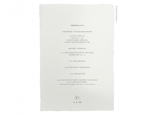 Einleger und Ablauf im Design der Hochzeitseinladung gedruckt auf Büttenpapier