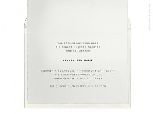 Funkelndes Glück! Geburtskarte mit goldenem Herz gedruckt auf edlem Büttenpapier.