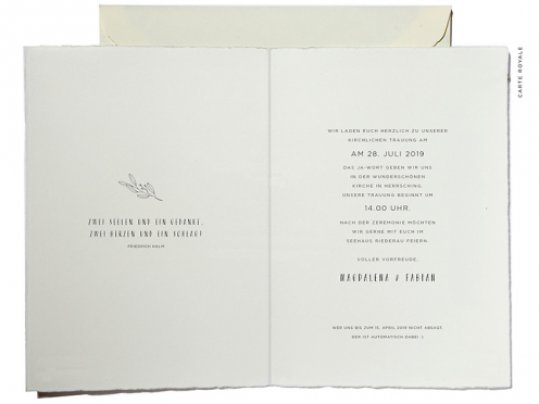 Hochzeitseinladungskarte mit Ammersee in Aquarell und goldenem Herz an Ihrer Hochzeitslocation.