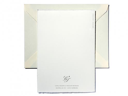 Monogramm Einladungskarte mit Prägung in rosé-gold. Hochwertig und edel, gedruckt auf weichem Büttenpapier inklusive Büttenkuvert.