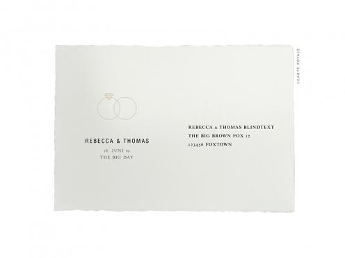 Rückantwortkarte gedruckt auf Büttenpapier mit gold geprägten Ringe.