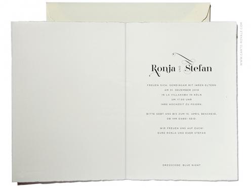 Stilvolle Einladung zur Sylvester-Hochzeitsparty mit geprägtem Hologramm.