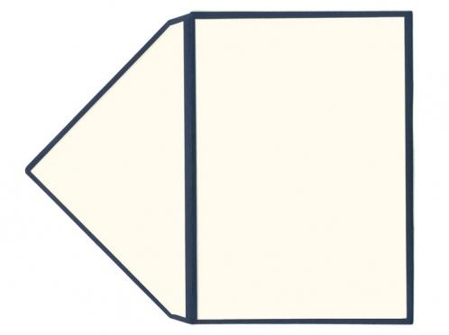 Cremefarbener Briefumschlag im C6 Format mit dunkelblauen Kanten.
