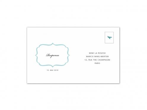 Rückantwortkarte als Postkarte zum Einstecken in die Pocketfolds Tasche.