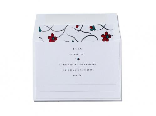 Rückantwortekarte im mini-Format passend zur Einladungskarte.