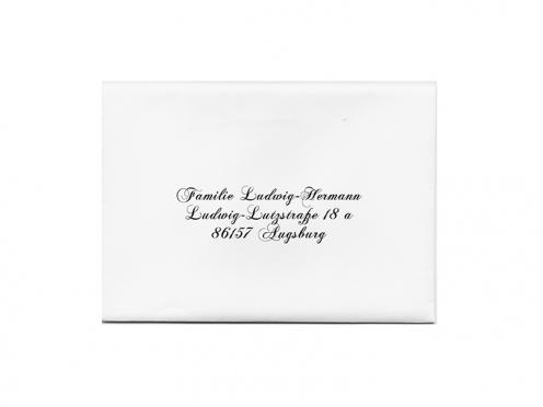 Bedruckung der Briefhüllen mit der Anschrift Ihrer Gäste.