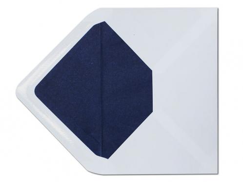 Weißer C6 Briefumschlag mit einem Innenfutter aus Seidenpapier in dunkelblau.