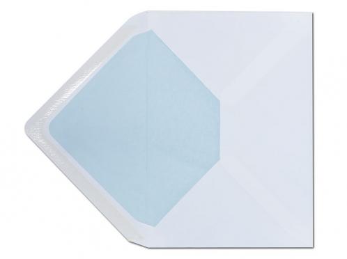 Weißer C6 Briefumschlag gefüttert mit einem Seidenpapier in hellblau.