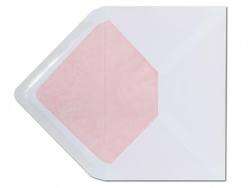 Weißer C6 Briefumschlag mit einem Innenfutter in zartem Rosa.