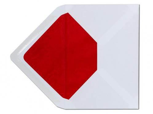Weißer C6 Briefumschlag mit rotem Innenfutter.