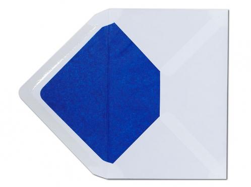 Weißer C6 Briefumschlag mit einem Innenfutter in blau.