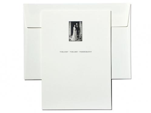 Danksagungskarte mit Foto auf der Vorderseite und eingelegter CD.