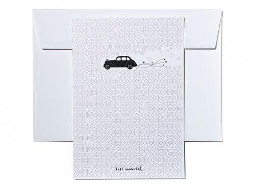 Danksagungskarte im A5 Format mit illustriertem Oldtimer inkl. Briefumschlag.