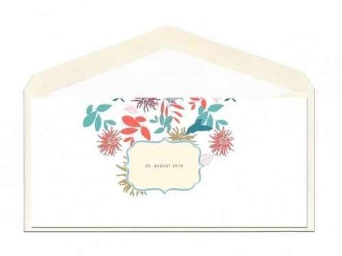 Din-lang Hochzeitseinladungen mit gezeichneten Blumen in Pastellfarben.