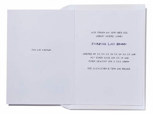 Geburtskarte mit Ufos und Flieger inkl. gelb gefüttertem Briefumschlag.