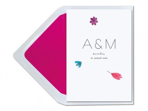 Einladungskarte mit bunt gemalten Blüten in Aquarellfarben.