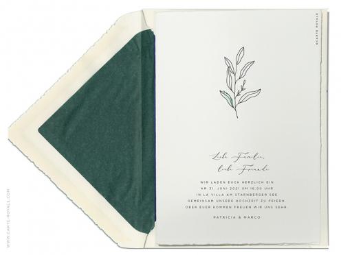 Einseitige bedruckte Hochzeitseinladung mit Blatt Illustration auf der Einladung und Umschlagsspitze.