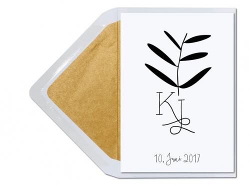 Hochzeitseinladung mit illustriertem Palmenblatt und kalligrafischen Initialen.