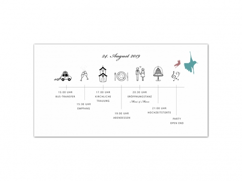 Illustrierter Pocketfold-Einleger mit detailiertem Ablauf zur Hochzeit.