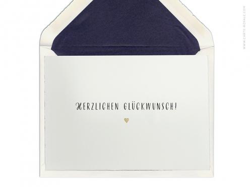 """Hochwertige Glückwunschkarte """"Herzlichen Glückwunsch"""" mit goldener Prägung auf Büttenpaper. Ab 5 Karten."""