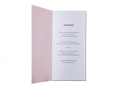 Die Menükarten passend zu den Tischkarten. Muster bestehend aus kleinen roten Punkten.