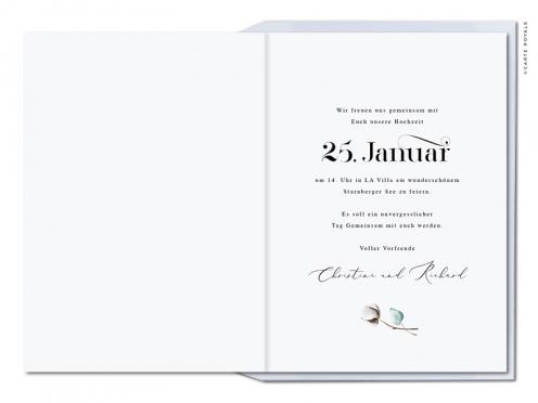 Winterliche Einladungskarte mit handgemalter Baumwolle und Eucalyptus.