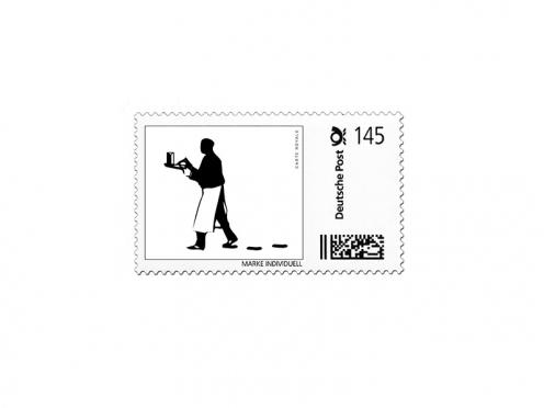 Gestaltungsvorlage für eine individuelle Briefmarke passend zur Einladungskarte.