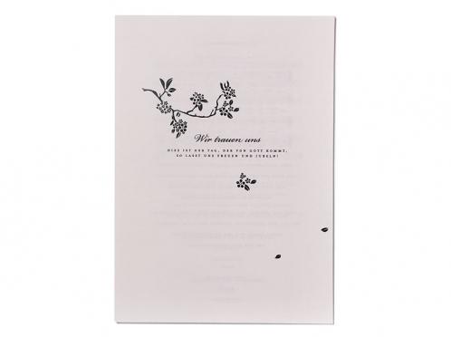 Kirchenheft für die kirchliche Trauung im Design der Hochzeitseinladungen.