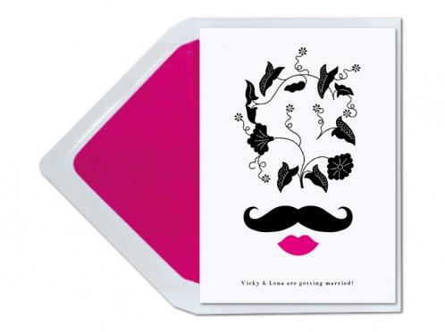 Abstrakte Einladung mit Moustache und pinken Lippen.