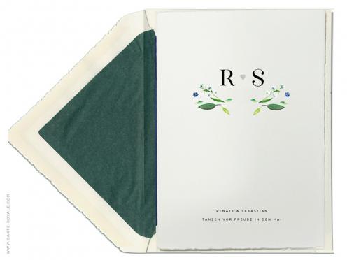 Maiglöcken Aquarell-Zeichnung für Ihre Einladung zur Hochzeit. Gedruckt und geprägt auf feinstem Büttenpapier.