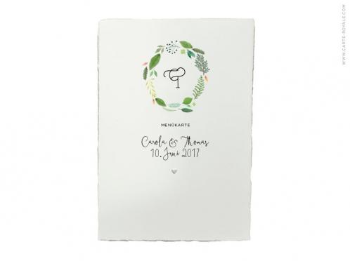 Menükarte mit Blätterkranz in Aquarell. Büttenpapier mit kleinen geprägtem Herz.