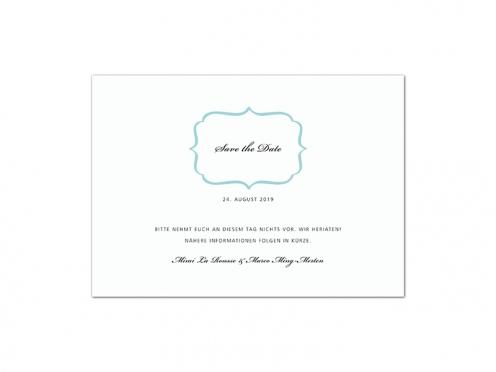 Save the Date Karte als Postkarte auf Feinstpapier gedruckt.