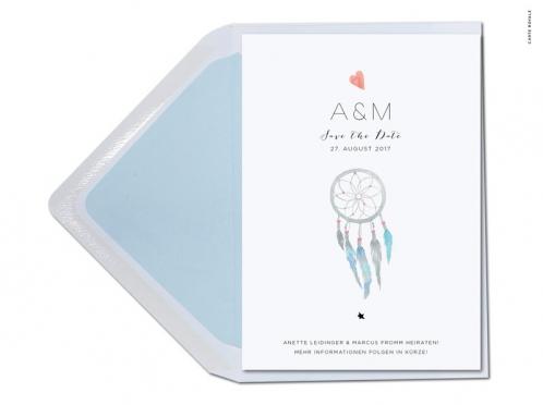 Save-the-Date Karten mit Traumfänger in Aquarellfarben.