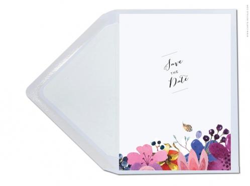 Save-the-Date Karte mit Blumen, Trauben und Federn im Bohomian-Stil.