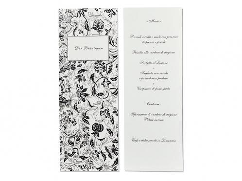 Schmale Tischkarte mit Tuschemotiv und gedrucktem Menü auf der Rückseite.
