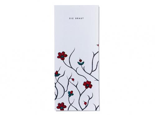 Tischkarten mit floralem Muster personalisiert und gedruckt auf Feinstpapier.