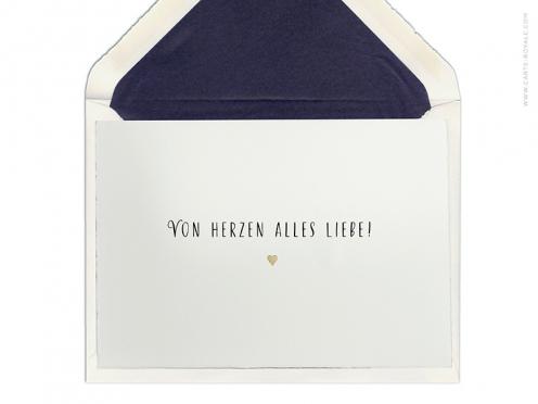 """""""Von Herzen alles Liebe"""" - Glückwünsche gedruckt auf Büttenpapier mit antikgoldener Prägung. Ab 5 Karten."""