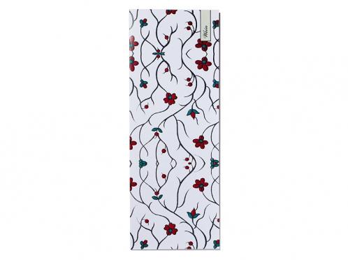 Weinkarte mit Blumenmuster mit roten Blüten und Knospen gedruckt auf Feinstpapier.
